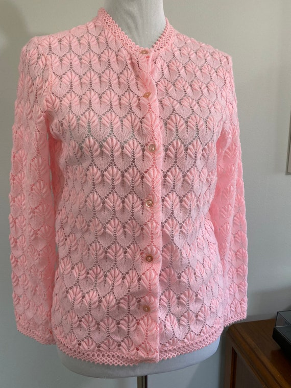 Vintage 1960s Pink Delicate Knit Cardigan Sweater