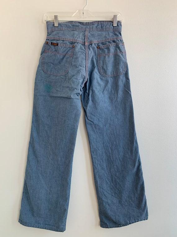 Wide leg high waist chambray LandLubber jeans, xs… - image 4