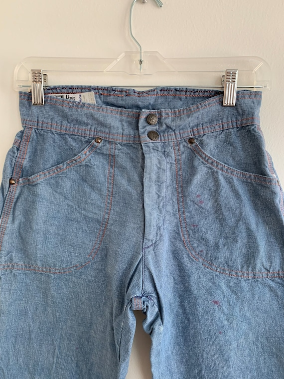 Wide leg high waist chambray LandLubber jeans, xs… - image 3
