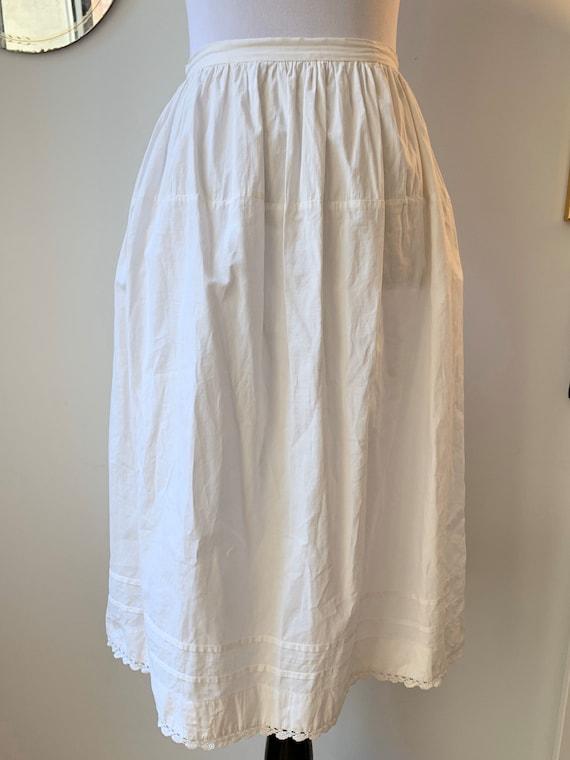 "Edwardian Cotton Slip Skirt, 27"" W"
