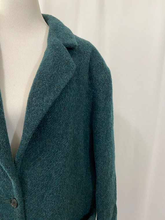 Deep Green Wool and Mohair Oversized Woolrich Bla… - image 3