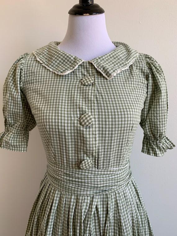 Vintage Handmade Gingham Prairie dress, xs-sm - image 3