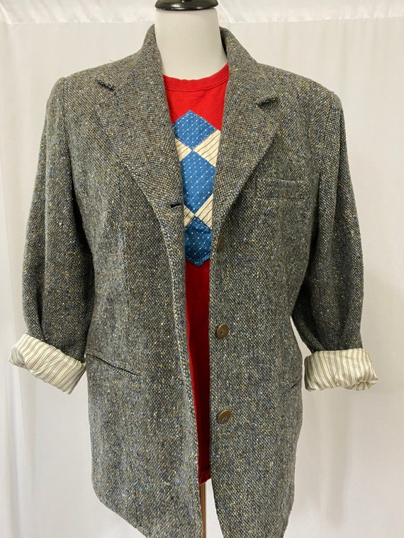 1990s Gray Tweed Lizwear Tweed Blazer