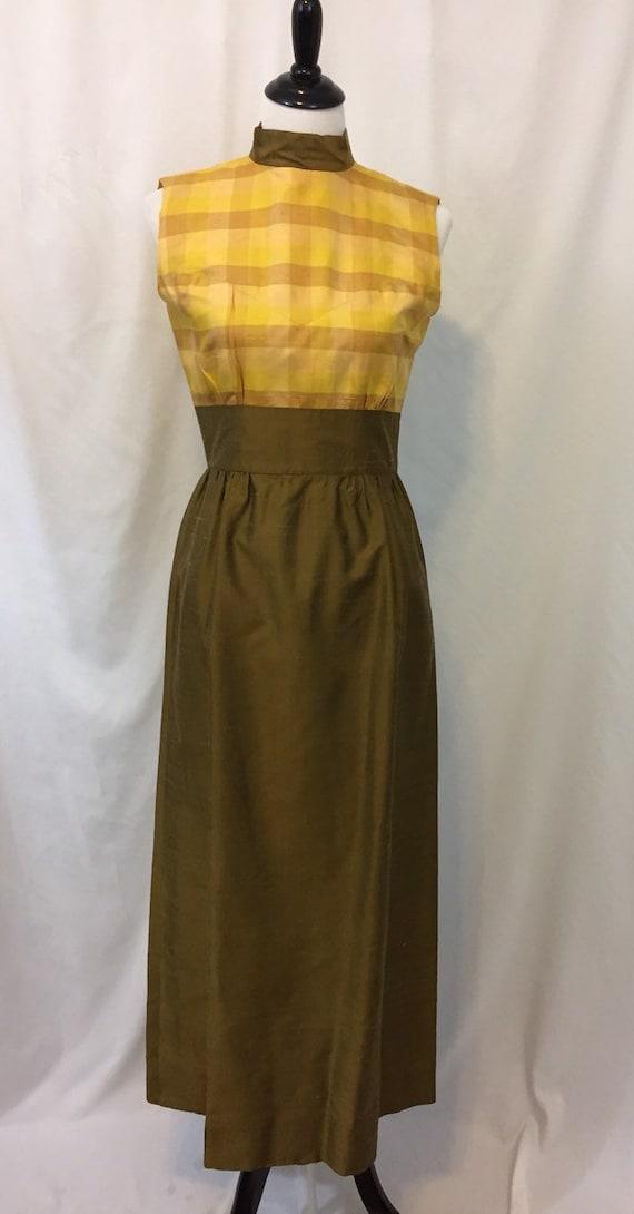 Vintage Silk 60s 70s Sleeveless Maxi Hostess Dress