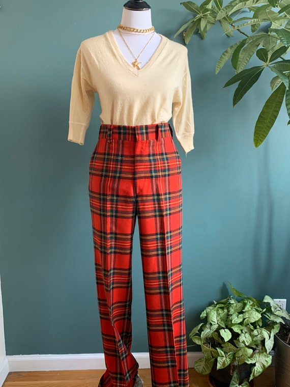 """Red Plaid Preppy Wool Trousers, 32"""" W"""