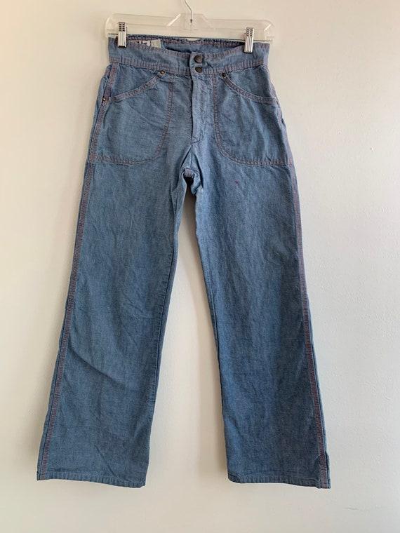 Wide leg high waist chambray LandLubber jeans, xs… - image 2