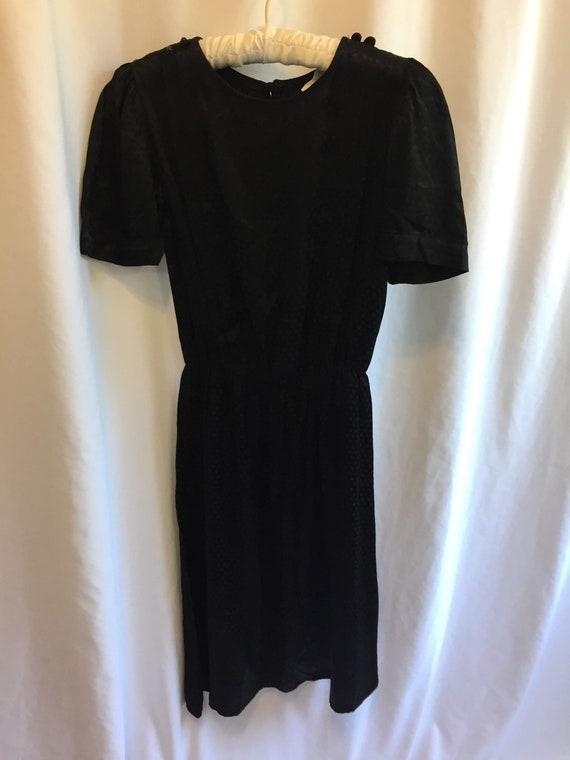 1980s Black Satiny Midi-Length Dress/Short Sleeves
