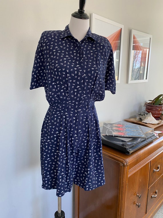 Vintage 1980s Blue and White Ditsy Floral Romper