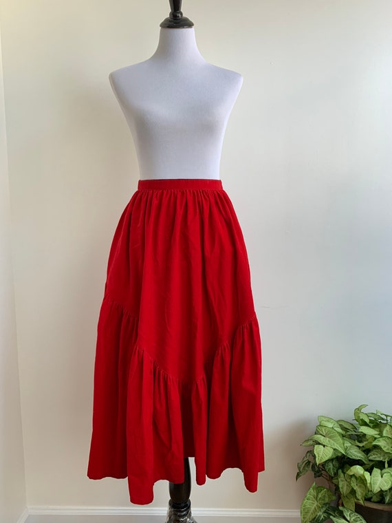 Red Corduroy Cotton Maxi Western Skirt by Bis, xs