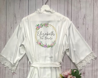 1f5e82bcc0b1c Personalised Bridal robe, Wedding Dressing Gown, initial floral Bridal robe,  Robes, Satin Wedding Robe, grey bridal Robe, bridesmaid robe