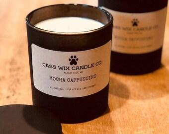 Mocha Cappuccino 13.5 oz black Glass Jar candle