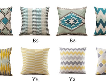 Sale!!! USD 9.99 only... Blue & Yellow Decorative Throw Modern Geometric Pillow covers - 18x18 - Mix/Match patterns Couch Throw