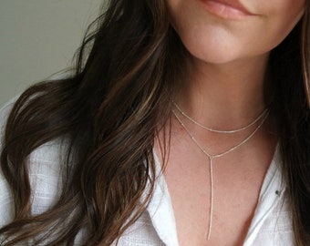 14k Gold Lariat with Beaded Choker