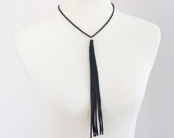 Leather Tassel Lariat Necklace