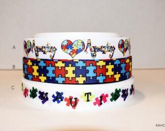 """Autism Awareness 7/8"""" Grosgrain Ribbon You Choose"""