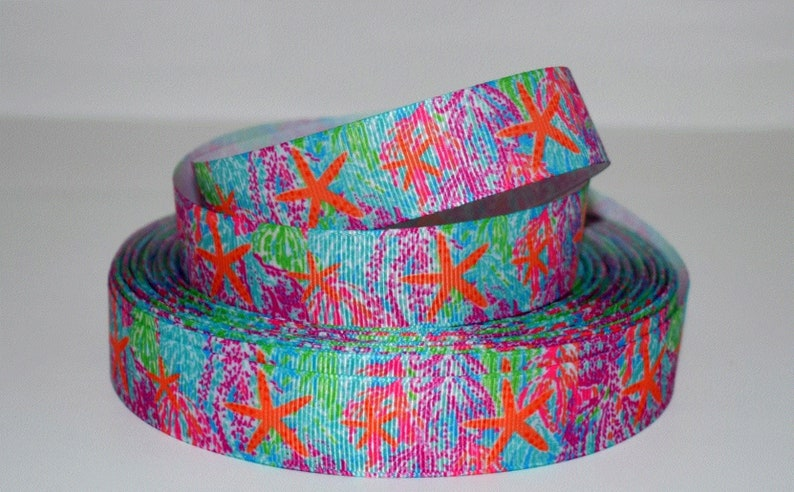 Multi Colored Coral with or without Starfish 78 Grosgrain Ribbon You Choose