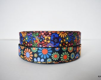 "Hippie Flowers, Flower Child 7/8"" Grosgrain Ribbon You Choose"