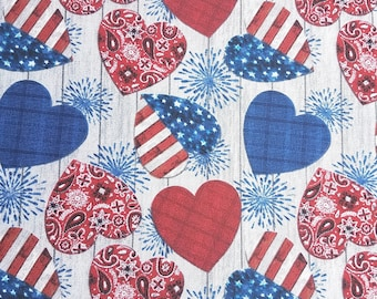 CHRISTMAS POLYCOTTON FABRIC HEARTS AND STARS DESIGN RED AND WHITE