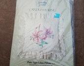 Tiger Lilies Candlewicking Pillow Kit, Pink Tiger Lilies Pillow Vintage Kit 80146 - Unopened Craft Kit - CK0544