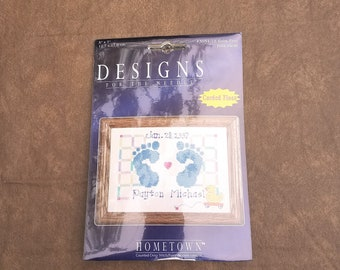 Counted Cross stitch 14ct Baby Birth Sampler Hands And Feet CHART PDF