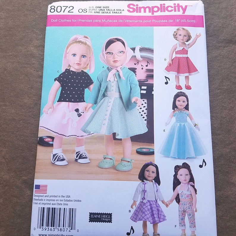 Simplicity 8072 Designs by Elaine Heigl 18 inch doll 1950s Styles New Pattern Doll Clothes Pattern DP0496