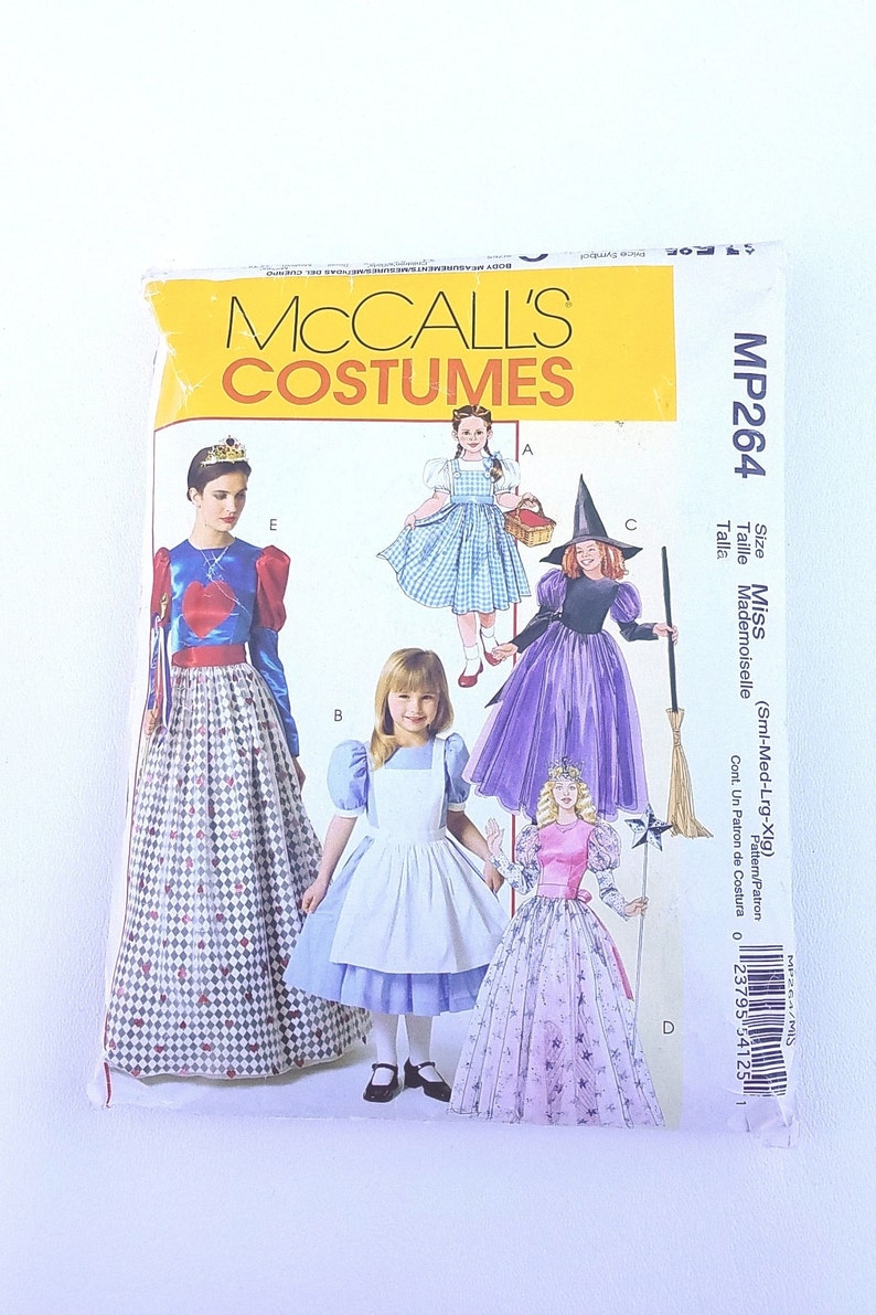 NEW Costume Pattern McCalls 4948 or MP264 Alice and Dorothy CP1899 Sizes 3 to 8 Girls Princess Costume Dress Pattern