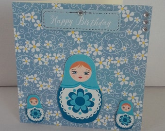 Russian Doll handmade greeting card