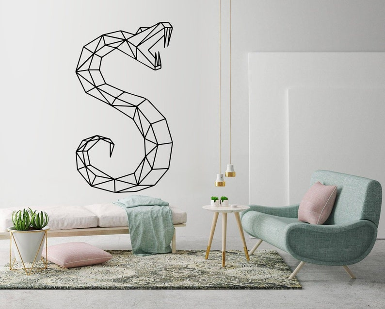 snake geometric wall art decal snake decor geometric art | etsy