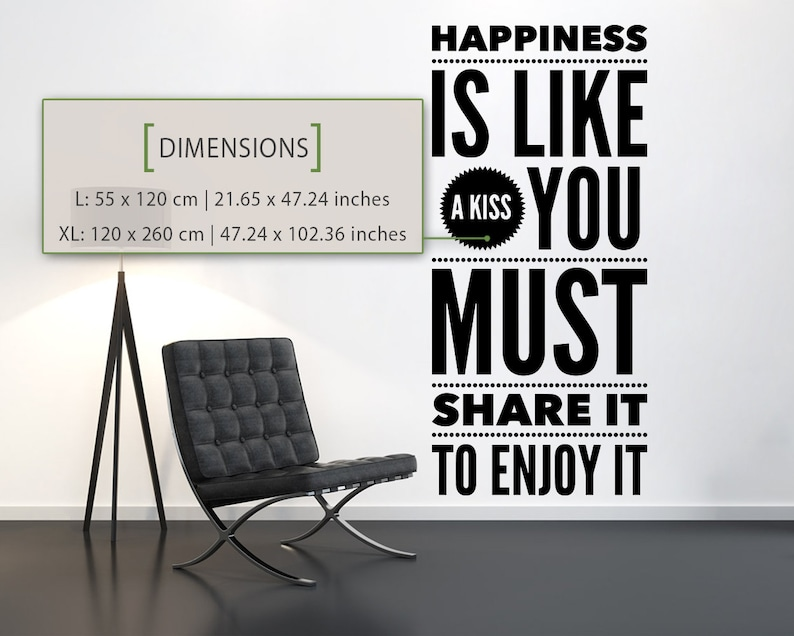 Decal Phrases Happiness Wall Decal Typography Home Decor Gifts Wall Decals Quotes Wall Decor Decal Quotes Wall Stickers Wall Art
