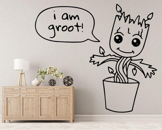 groot wall decal groot pot groot planter baby groot | etsy