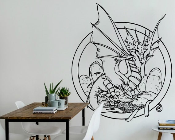 dragon vinyl decal wall art decal wall decals decals | etsy