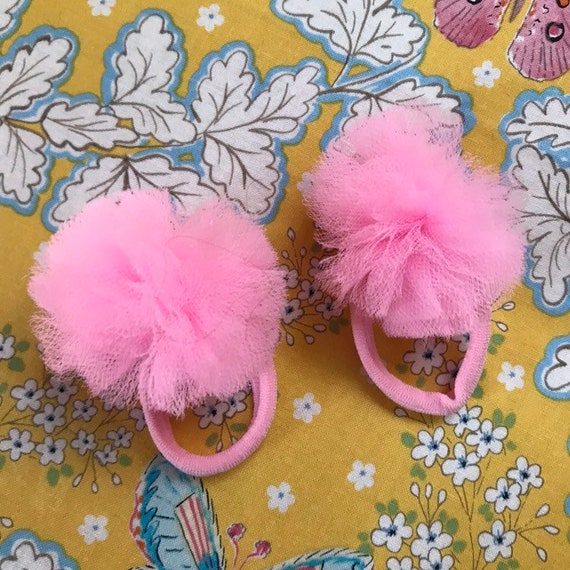 Two pink tulle pom pom hair ties  8e07f3002c6