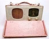 Pink Vintage Tube Radio Zenith Wave Magnet 6G501M Universal Portable AM Radio Works