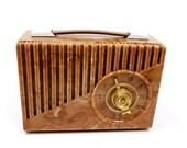 Rare Vintage Sentinel Tube Radio Red Brown Swirl Marble Look 1u-345p Bakelite