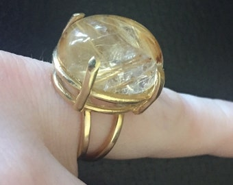 Solid 14k HEAVY Large 15ct Rutilated Quartz Vintage Statement Ring Size 4
