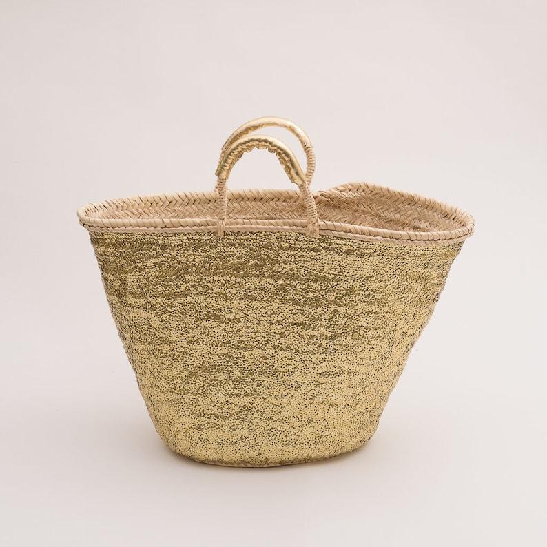 Bohemian Basket Sequins Basket Handmade Basket Beach Basket Palm Leaf Basket Beach Life Beach gifts Urban Basket Sun-Day Basket