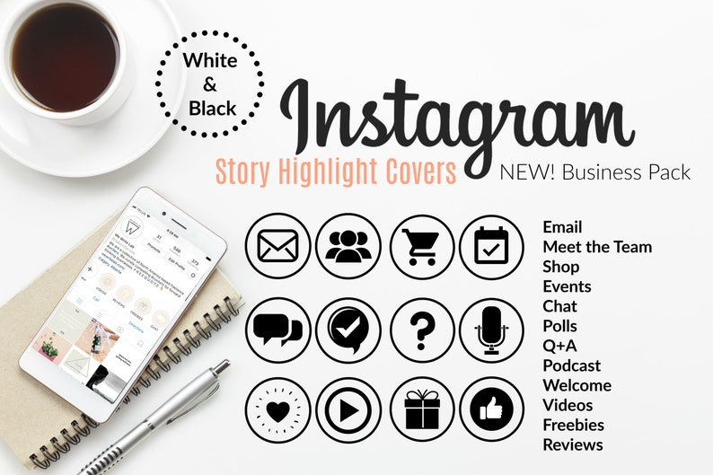 Instagram Story Highlight Icons Covers - For IG Highlights and IG Stories   White and Black Instagram Highlight Covers  Business Theme