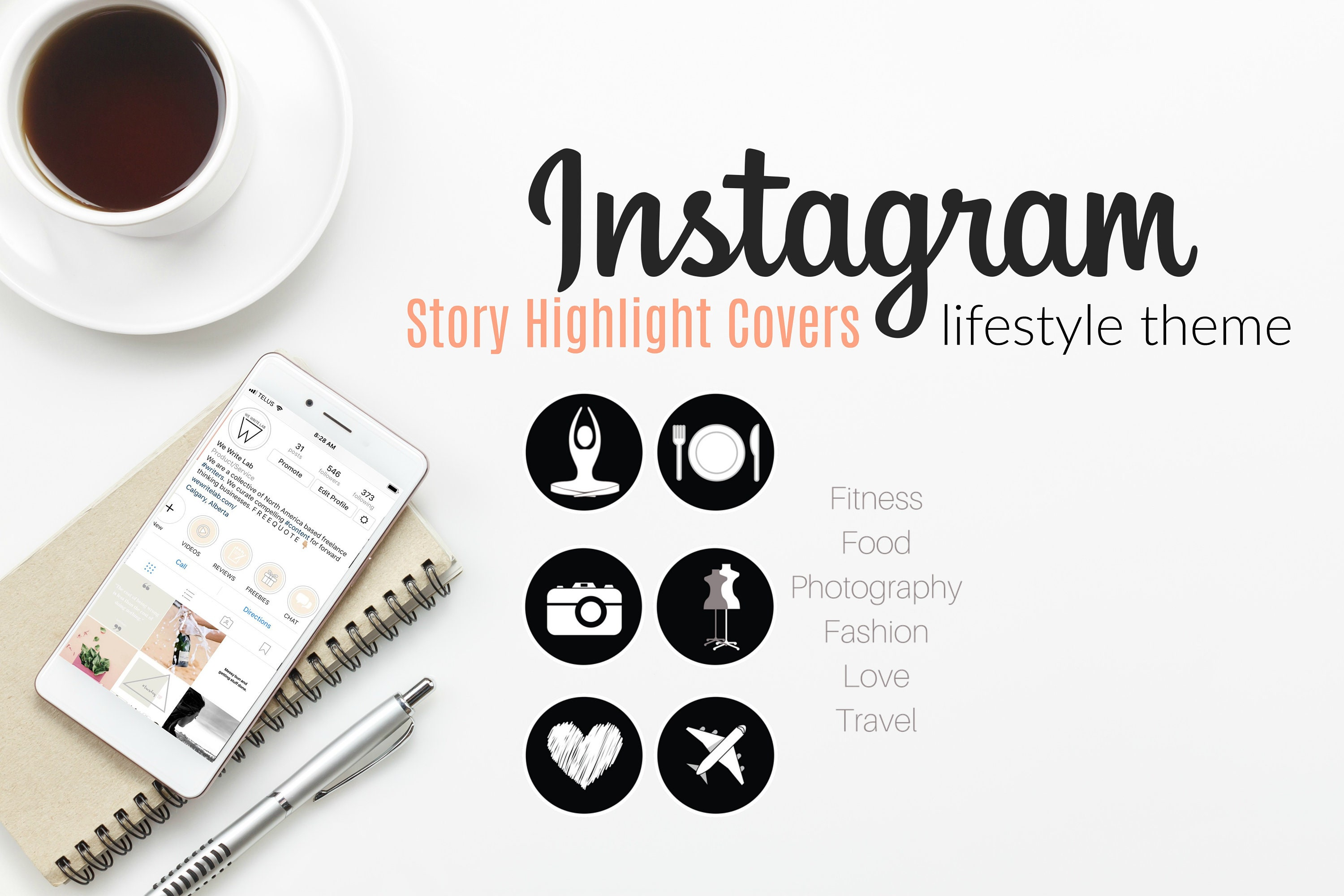 Instagram Story Highlight Icons Cover Pack: Black & White, Lifestyle Theme  for Instagram Stories