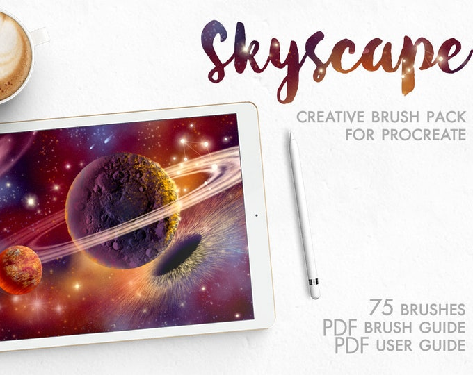 Procreate Brushes Galaxy Skyscape, celestial skies, stars brushes, zodiac constellations, procreate stamps