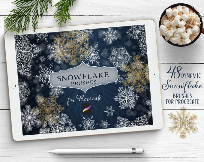 Snowflake Brush Bundle for Procreate app, dynamic brushes to add magical touch to your lettering and illustration
