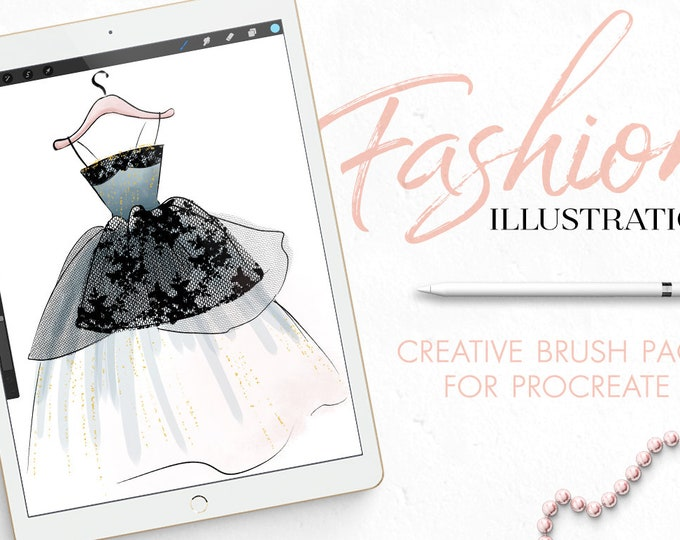 Procreate Brushes Fashion Illustration toolkit, watercolor brushes, marker brushes, lace and fabric brushes, textures