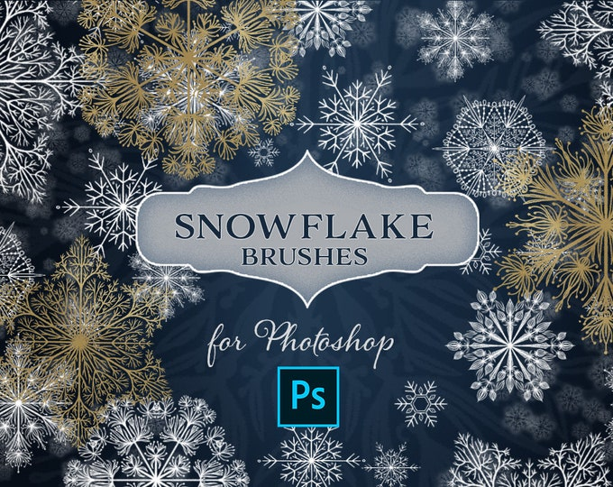 Lace Snowflake Photoshop Brushes, Snow overlay brushes, digital drawing tools
