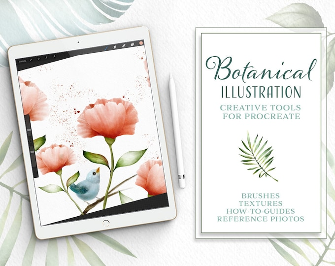 Botanical Illustration Toolkit for Procreate App on iPad, watercolor in procreate technique guide, Procreate brushes
