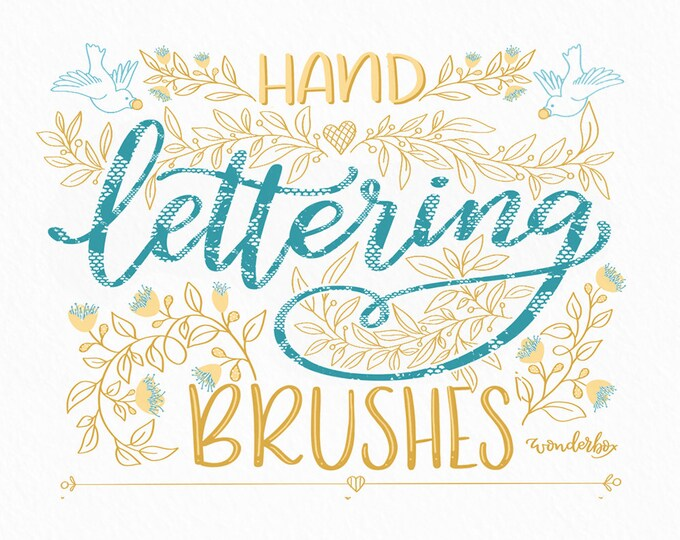 Lace Lettering Procreate Brushes - a set of 7+1 brushes for modern script lettering