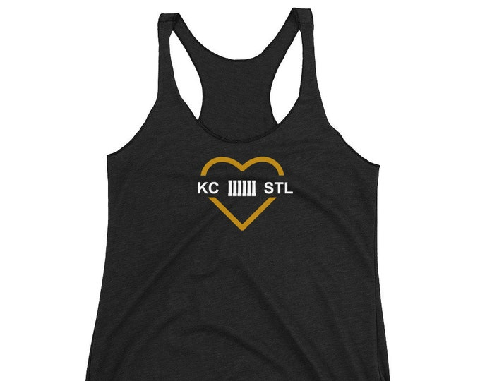 MO Love Black and Gold Women's Racerback Tank