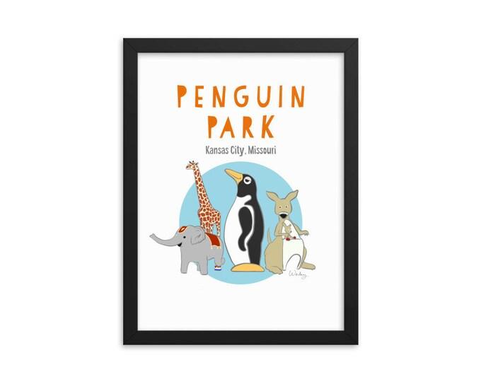 Penguin Park Kansas City Framed Poster