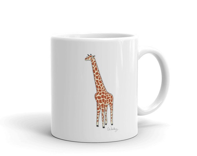 Penguin Park Giraffe Illustration Mug
