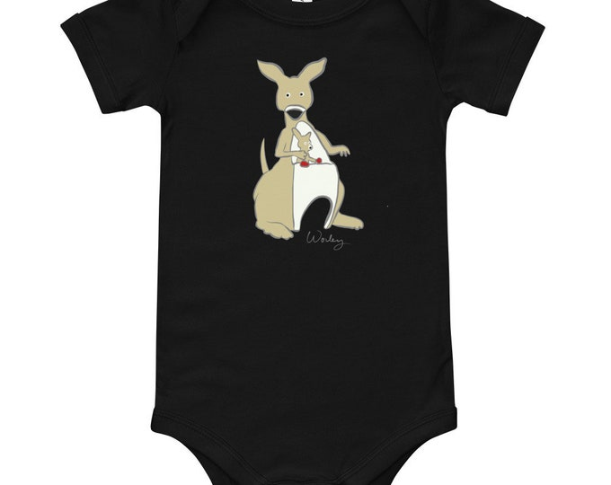 Penguin Park Kangaroo Illustration Baby's One-Piece