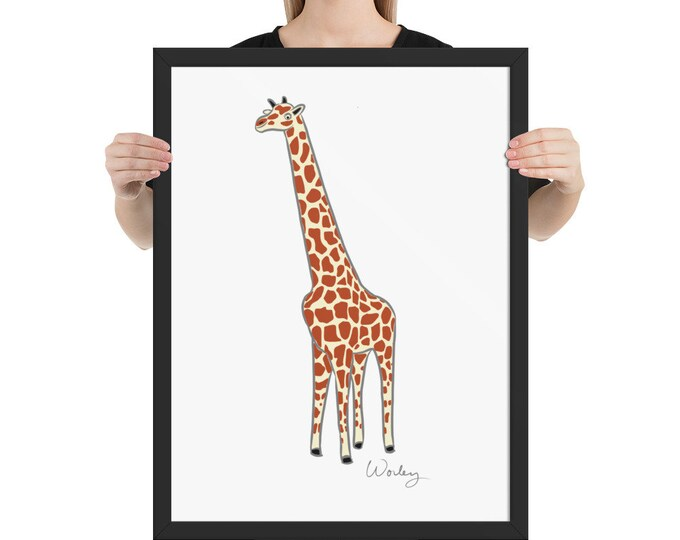Penguin Park Giraffe - Artist's Illustration Framed Poster