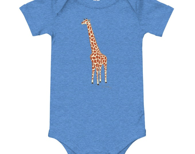 Penguin Park Giraffe Illustration Baby's One-Piece